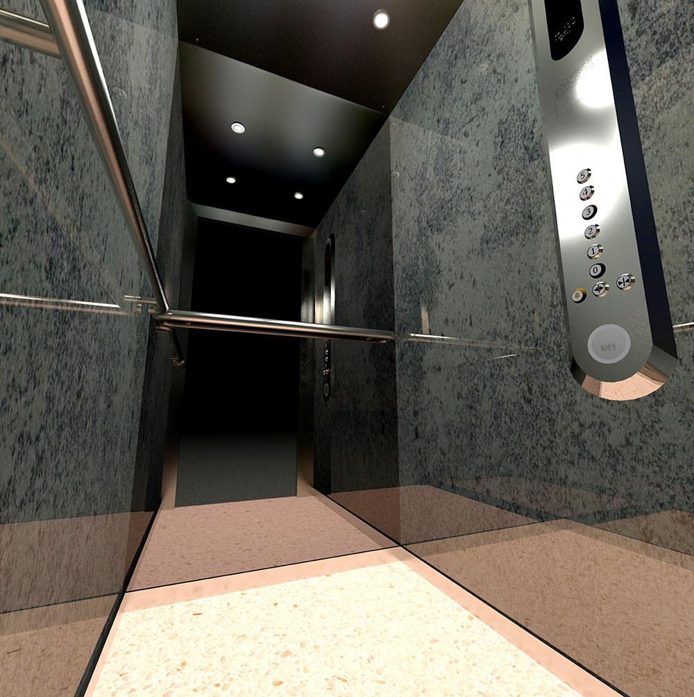 cabines d 39 ascenseurs 3d pour brochure magali sire. Black Bedroom Furniture Sets. Home Design Ideas