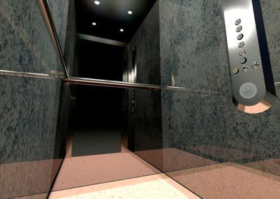 illustration cabine ascenseur KONE en 3d