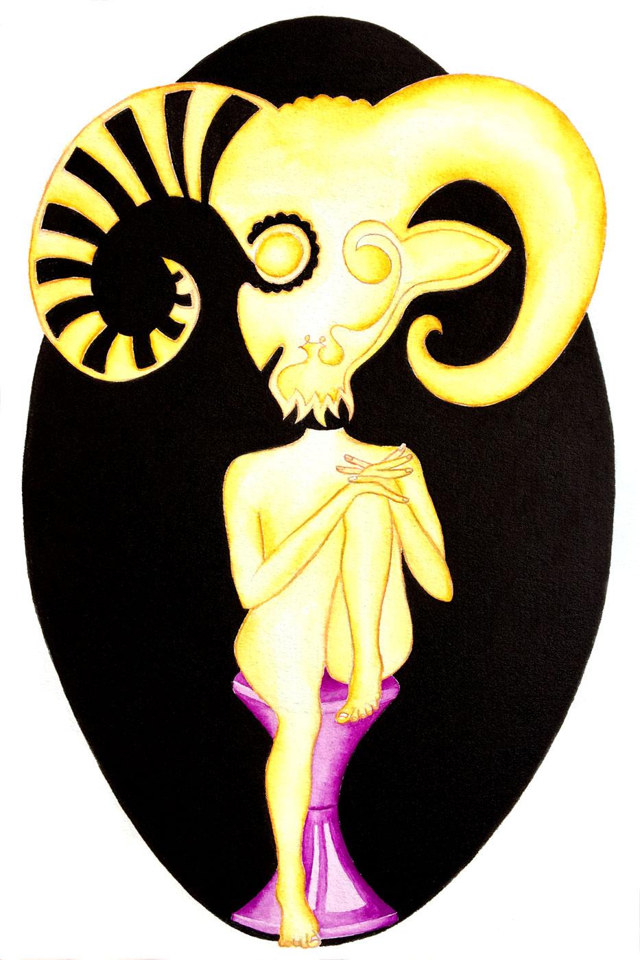 Zodiaque - Bélier sur un tabouret tam-tam | 30 x 20 cm