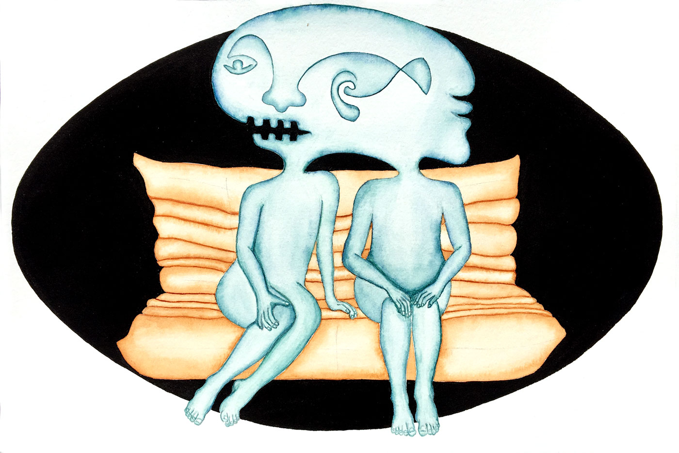 Gémeaux sur un canapé Togo | 20 x 30 cm