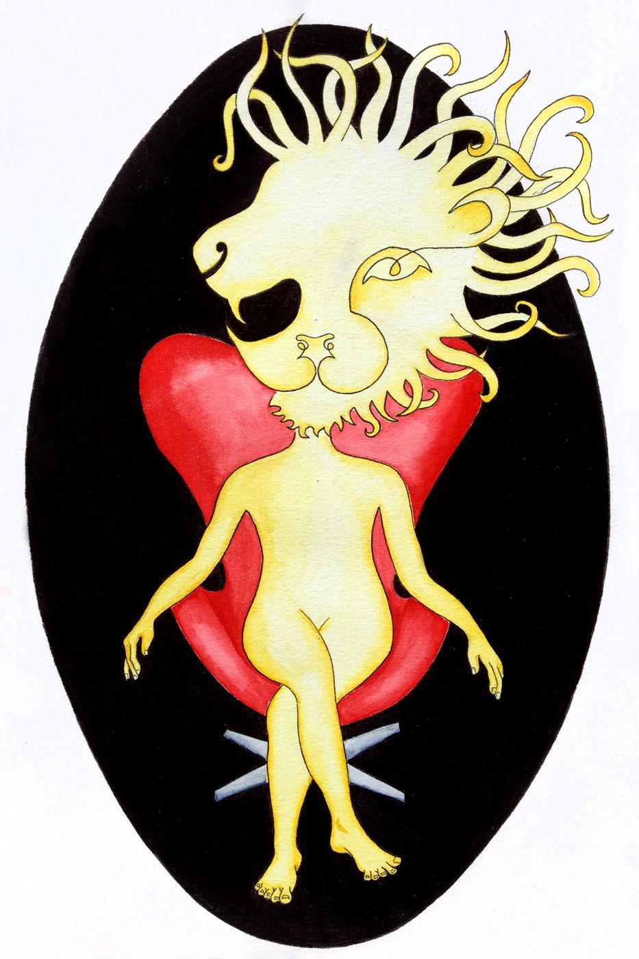 Lion sur un eggchair Jacobsen | 30 x 20 cm