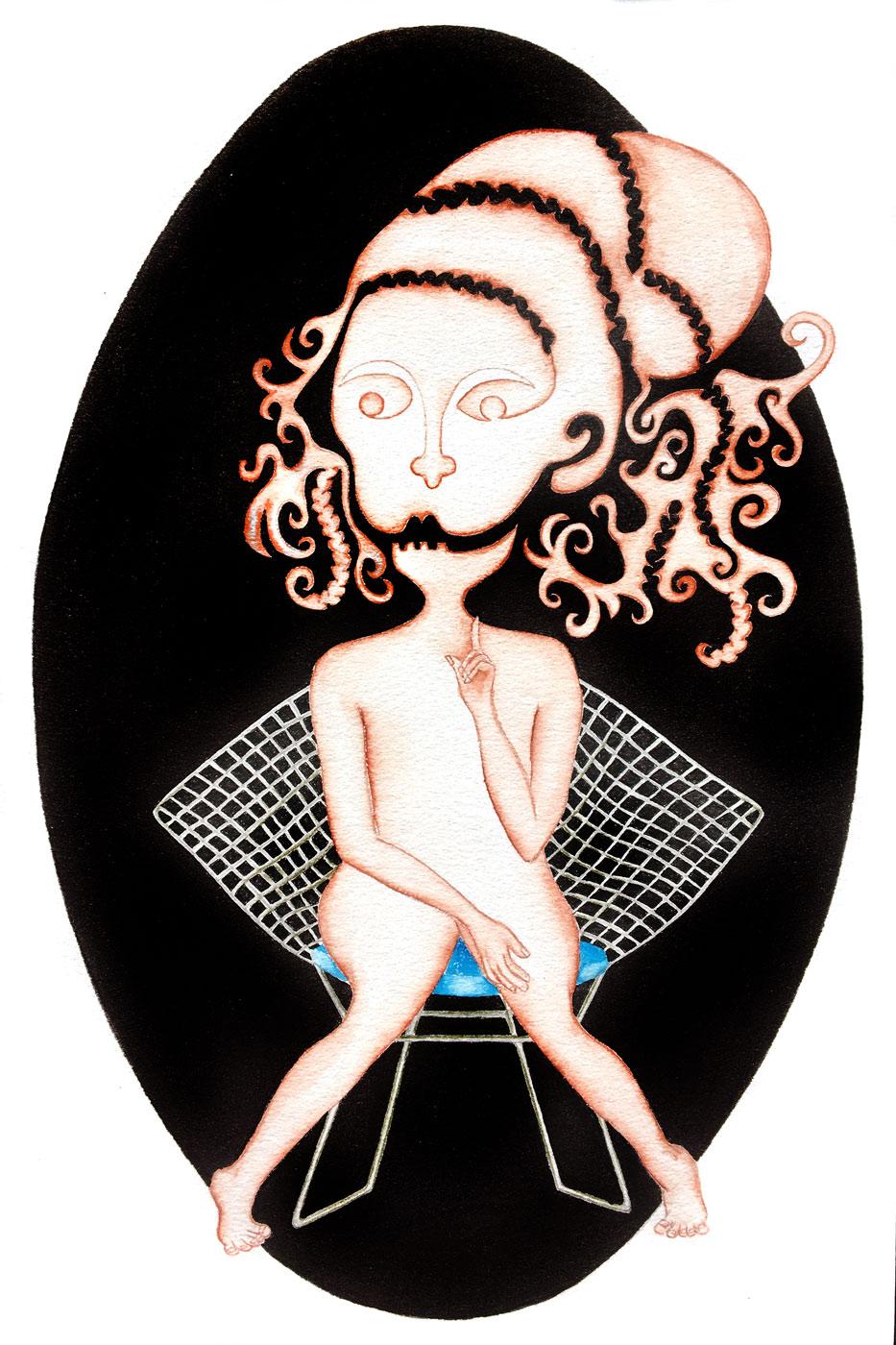 Vierge sur un fauteuil bertoya | 2018 <br/>30 x 20 cm