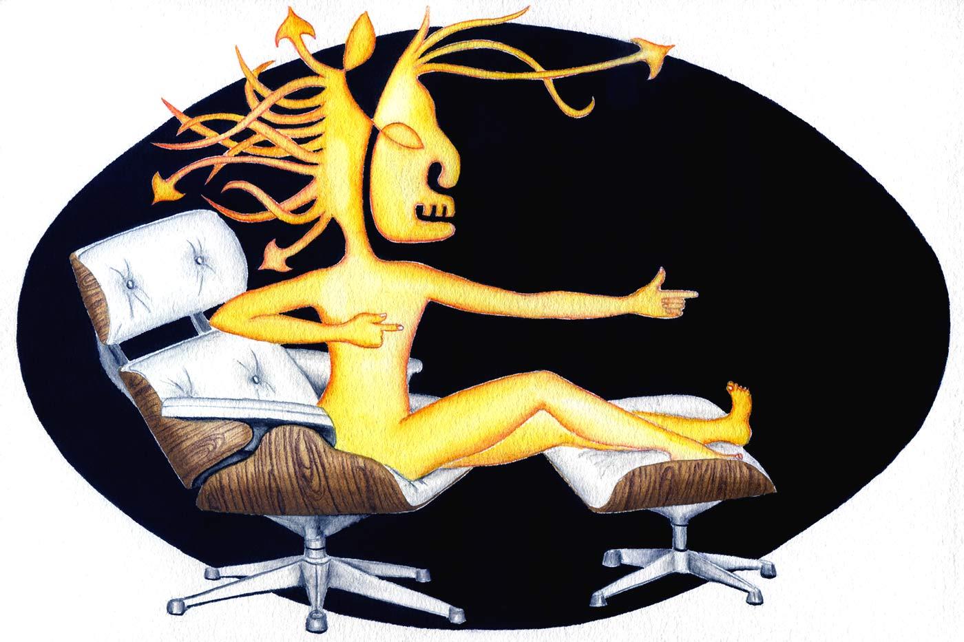 Sagittaire sur un fauteuil lounge de Eames | 2018 <br/>20 x 30 cm