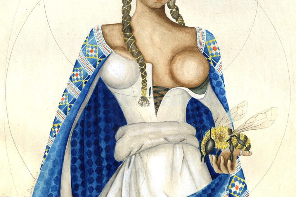 Pachamama à sec, à la Fouquet   2019 38 cm x 26 cm