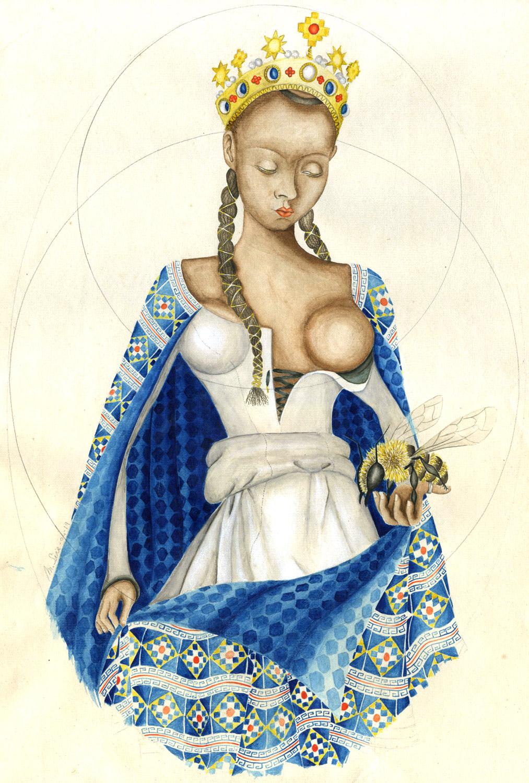 Pachamama à sec, à la Fouquet | 38 cm x 26 cm