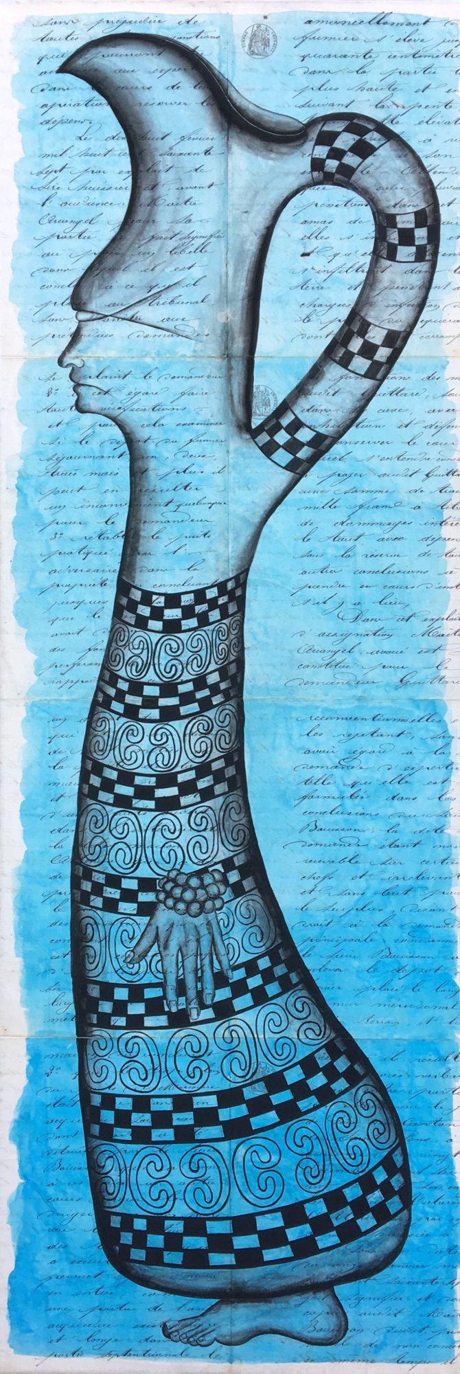 Carafe profilée  | 120 x 40 cm | Papier ancien marouflé sur toile