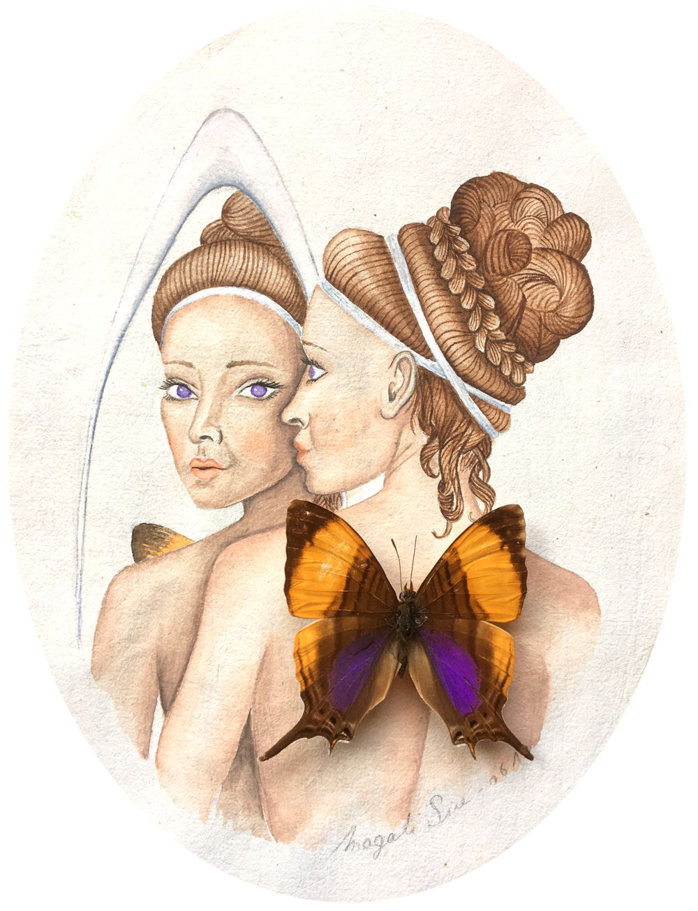 Psyché | 18 cm x 14 cm | Aquarelle et collage sur papier ancien