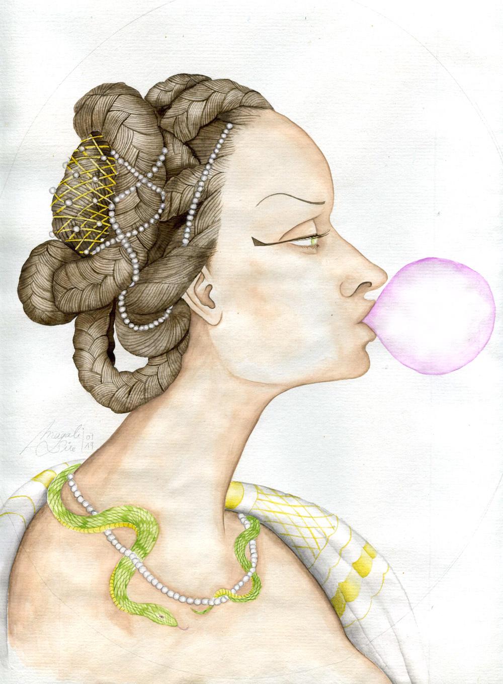 Cléopâtre et son malabar | 29 x 23 cm