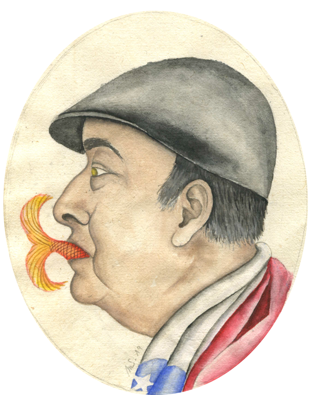 Pablo au poisson | 14 cm x 11 cm