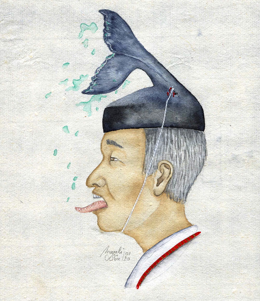 Akihito, empereur des baleines | 2020 <br/>14 x 11.5cm
