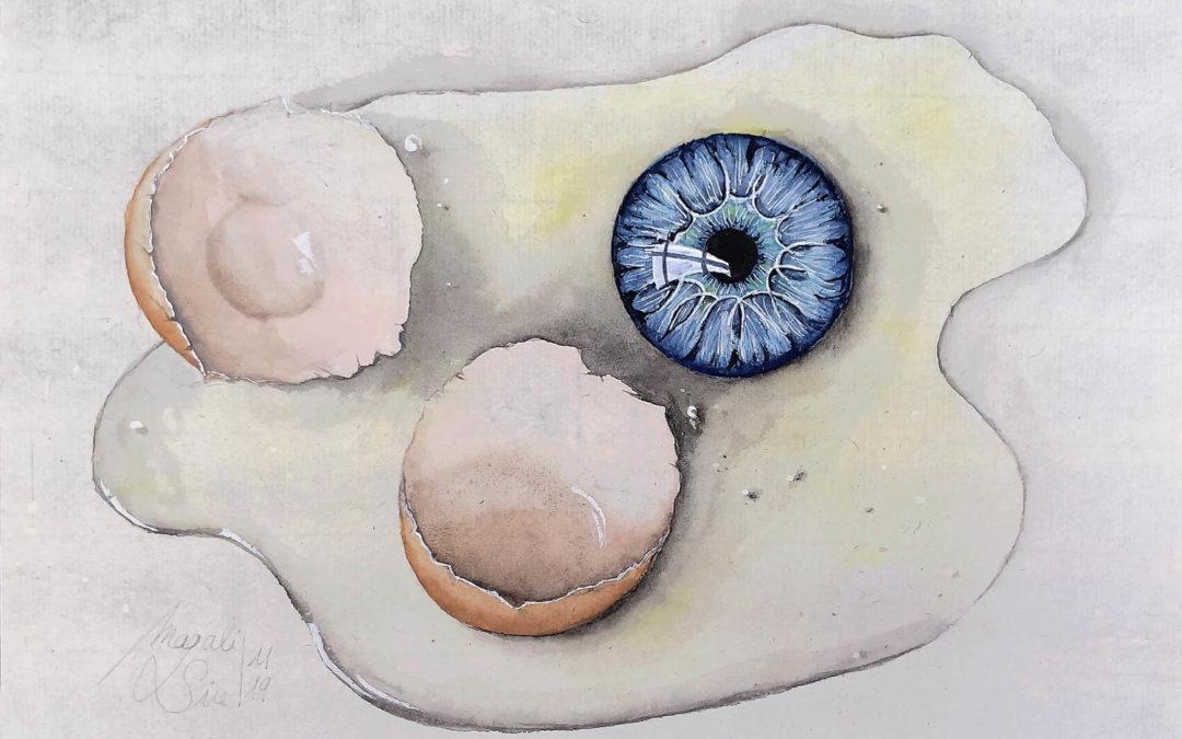 L'oeil cassé   2019 16 x 21 cm