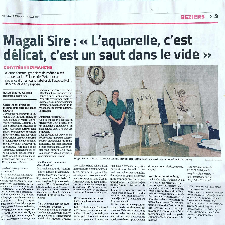 Magali Sire - Article midi-libre - 11-07-21